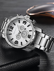 cheap -Men's Steel Band Watches Quartz Fashion Water Resistant / Waterproof Analog Black / Silver White+Silver Black / One Year / Stainless Steel / Noctilucent