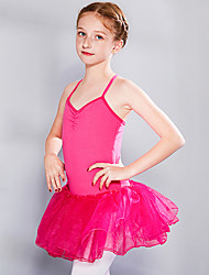 cheap -Ballet Dress Lace Criss Cross Ruching Girls' Training Performance Sleeveless High Lace Tulle Cotton