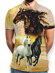 cheap -Men's Graphic Animal Horse Print Polo Basic Daily Yellow