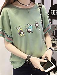 voordelige -Dames Tops Cartoon T-shirt Ronde hals Dagelijks Wit Blozend Roze Klaver M L XL