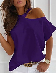 cheap -Women's Blouse Shirt Solid Colored One Shoulder Round Neck Tops Basic Basic Top Black Purple Red