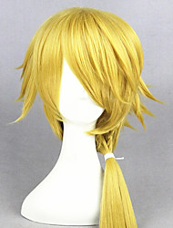 cheap -Cosplay Wig Touken Ranbu Curly Cosplay Asymmetrical With Bangs With Ponytail Wig Short Light golden Synthetic Hair 14 inch Women's Anime Cosplay Party Blonde