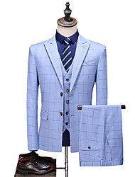 cheap -Blue Striped Standard Fit Polyester Suit - Peak Single Breasted Two-buttons / Suits