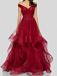 cheap -A-Line Elegant Beautiful Back Wedding Guest Prom Dress V Neck Sleeveless Floor Length Tulle with Tier 2020