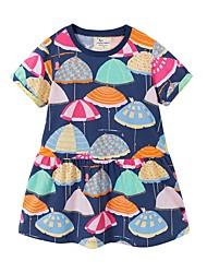 cheap -Kids Little Girls' Dress Cartoon Navy Blue Dresses