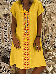 cheap -Women's Shift Dress Knee Length Dress Black Yellow Wine Orange Khaki Green Light Blue Short Sleeve Floral Summer V Neck Hot Casual 2021 S M L XL XXL 3XL 4XL 5XL