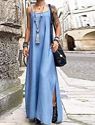 cheap -Women's Strap Dress Maxi long Dress Dusty Blue Light Blue Sleeveless Solid Color Summer Round Neck Casual 2021 S M L XL XXL 3XL 4XL 5XL