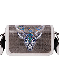 cheap -Women's Pattern / Print PU Leather Crossbody Bag Leather Bag Animal White / Black