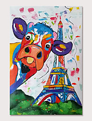 cheap -Mintura Large Size Hand Painted Cow Animal Oil Painting on Canvas Modern Abstract Pop Art Wall Pictures For Home Decoration No Framed