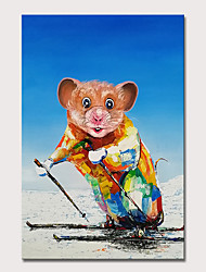cheap -Mintura Original Hand Painted Rat Animal Oil Paintings on Canvas Modern Abstract Wall Picture Pop Art Posters For Home Decoration Ready To Hang