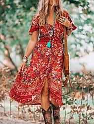cheap -Women's A-Line Dress Midi Dress Short Sleeve Floral Summer Hot Casual vacation dresses 2021 Blue Purple Red Yellow Green M L XL XXL 3XL 4XL