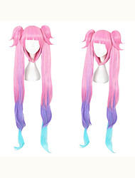 cheap -Cosplay Wig Angela Straight Cosplay With 2 Ponytails Neat Bang With Bangs Wig Very Long Pink / Purple Synthetic Hair 40 inch Women's Anime Cosplay Best Quality Purple Mixed Color