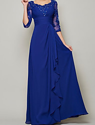 cheap -A-Line Mother of the Bride Dress Elegant Scalloped Neckline Floor Length Chiffon Half Sleeve with Pleats Beading 2021