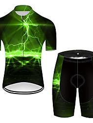 cheap -21Grams Men's Short Sleeve Cycling Jersey with Shorts Nylon Black / Green Lightning Gradient 3D Bike Quick Dry Breathable Sports Lightning Mountain Bike MTB Road Bike Cycling Clothing Apparel