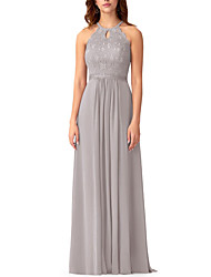 cheap -A-Line Halter Neck Floor Length Chiffon / Lace Bridesmaid Dress with Pleats / Embroidery