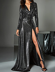 cheap -A-Line Beautiful Back Sparkle Party Wear Prom Dress V Neck Long Sleeve Sweep / Brush Train Sequined with Sequin Split 2020