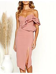 cheap -Sheath / Column Sweetheart Neckline Knee Length Polyester Bridesmaid Dress with Ruffles / Split Front