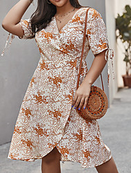 cheap -Women's A-Line Dress Knee Length Dress - Short Sleeves Floral Spring Casual Elegant 2020 Light Brown XL XXL XXXL XXXXL