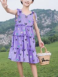 cheap -Kids Girls' Cute Butterfly Animal Print Sleeveless Knee-length Dress Purple