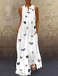 cheap -Women's Maxi Butterfly Dress - Sleeveless Animal Print Summer V Neck Casual Holiday Vacation Beach 2020 White Yellow Blushing Pink Light Blue S M L XL XXL XXXL