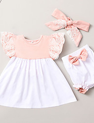 cheap -Baby Girls' Active Geometric Ruffle Print Sleeveless Long Clothing Set Blushing Pink