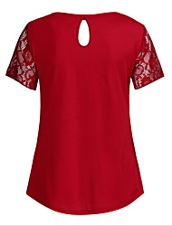 cheap -Women's T-shirt Maternity Solid Colored Tops Round Neck Daily Summer Black Red S M L XL 2XL 3XL