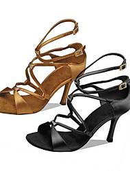 cheap -Women's Latin Shoes PU Heel Cuban Heel Dance Shoes Black / Brown
