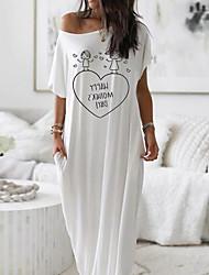 cheap -Women's Shift Dress Maxi long Dress - Short Sleeves Letter Summer Work 2020 White Blushing Pink Navy Blue Light Blue S M L XL