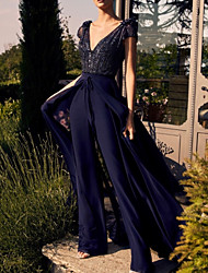 cheap -Jumpsuits Elegant Glittering Engagement Prom Dress V Neck Short Sleeve Floor Length Chiffon with Sequin Overskirt 2020