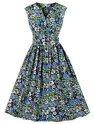 cheap -Women's A-Line Dress Knee Length Dress Sleeveless Floral Summer Work Hot Vintage 2021 Black Red Light Blue S M L XL XXL 3XL 4XL