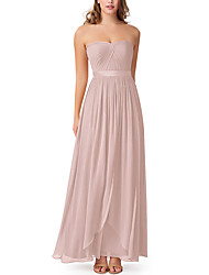 cheap -A-Line Sweetheart Neckline Floor Length Chiffon Bridesmaid Dress with Pleats