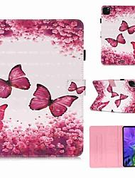 Недорогие -чехол для apple ipad pro 11 '' (2020) / ipad 2019 10.2 / ipad air3 10.5 '2019 кошелек / держатель для карты / с подставкой для всего корпуса чехлы из розовой бабочки, искусственная кожа / тпу для ipad
