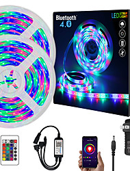 cheap -ZDM  10M (2*5M) App Intelligent Control Bluetooth Music Sync Flexible Led Strip Lights Waterproof 2835 RGB SMD 540 LEDs IR 24 Key Bluetooth Controller with 12V 2A Adapter Kit