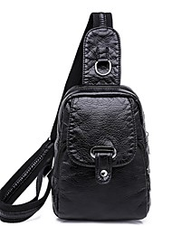 cheap -Unisex Bags PU Leather Sling Shoulder Bag Zipper for Daily Black / Red