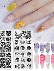 tanie -2 sztuk Szablon Narzędzie Tłoczenie Paznokci Tłoczenie Płyty Serii Zwierząt / Seria Kwiatów Do Paznokci Nail Art Manicure Pedicure Dorywczo Lolita / Koreański Codziennie