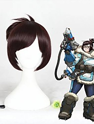 cheap -Cosplay Wig Overwatch Straight Cosplay Halloween With Bangs Wig Short Brown Synthetic Hair 12 inch Women's Anime Cosplay Adorable Brown