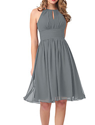 cheap -A-Line Jewel Neck Knee Length Chiffon Bridesmaid Dress with Pleats