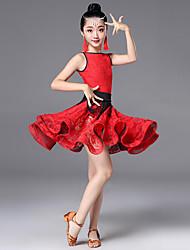 cheap -Latin Dance Dress Scattered Bead Floral Motif Style Lace Tassel Girls' Training Performance Sleeveless High Terylene