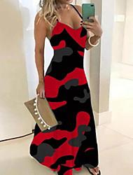cheap -Women's Strap Dress Maxi long Dress - Sleeveless Floral Summer Sexy 2020 Red Blushing Pink Green Gray Light Blue S M L XXL XXXL XXXXL XXXXXL