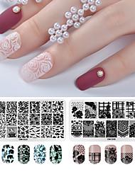 tanie -2 szt. Szablon do stemplowania paznokci seria kwiatów zdobienia paznokci manicure pedicure modny / modny codziennie