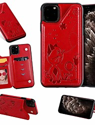 cheap -Case For Apple iPhone SE 2020 / 11 / iPhone 11 Pro / iPhone 11 Pro Max Card Holder / with Stand Back Cover Cat PU Leather for iPhone X / XR / XS / XS Max / 7Plus / 8 Plus / 7 / 8