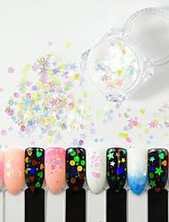 tanie -1 pudełko holograficzne paznokci brokat mix gwiazda okrągłe płatki serca syrenka lustro nieregularne błyskotka cekiny DIY Nail Art Decor