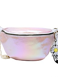 cheap -Women's Zipper PU Leather Fanny Pack 2020 Solid Color White / Blushing Pink / Rainbow