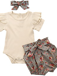 cheap -Baby Girls' Basic Floral Sleeveless Regular Clothing Set Gray