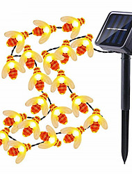 cheap -1set 12m 100 leds Solar Powered Cute Honey Bee Led String Fairy Light 5m 20leds 50leds Bee Outdoor Garden Fence Patio Christmas Garland Lights