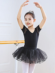cheap -Ballet Skirts Lace Split Joint Girls' Training Performance Short Sleeve High Spandex Lace Tulle