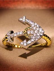 cheap -Women's Ring 1pc Gold Copper Imitation Diamond Round Stylish Anniversary Festival Jewelry Classic Anchor