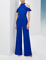 cheap -Jumpsuits Elegant Beautiful Back Wedding Guest Formal Evening Dress Halter Neck Short Sleeve Floor Length Chiffon with Sleek Ruffles 2020
