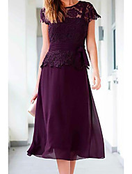 cheap -A-Line Mother of the Bride Dress Plus Size Jewel Neck Tea Length Chiffon Lace Short Sleeve with Appliques Ruching 2020