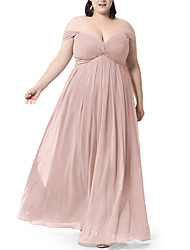 cheap -A-Line V Neck Floor Length Chiffon Bridesmaid Dress with Ruching